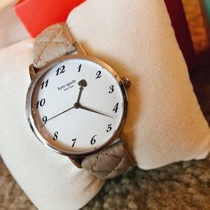 NEW IN BOX cream, quilted kate space watch
